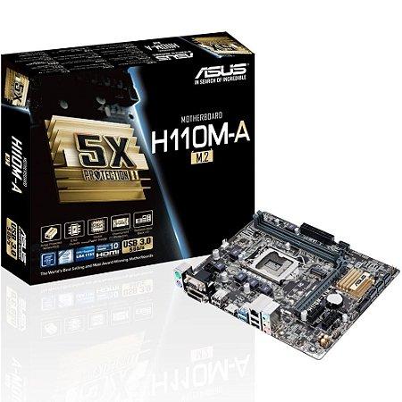 PLACA MÃE ASUS H110M-A/M.2, INTEL LGA 115, mATX, DDR4 - 90MB0R60-M0EAY0