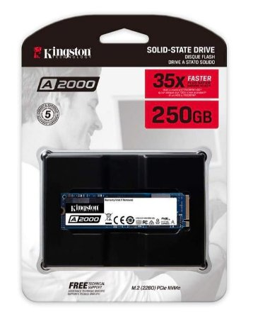 SSD KINGSTON A2000 250GB, M.2 NVMe, LEITURA 2000MB/s, GRAVAÇÃO 1100MB/s - SA2000M8/250G