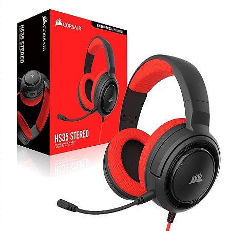 HEADSET GAMER CORSAIR HS35 STEREO RED - CA-9011198-NA