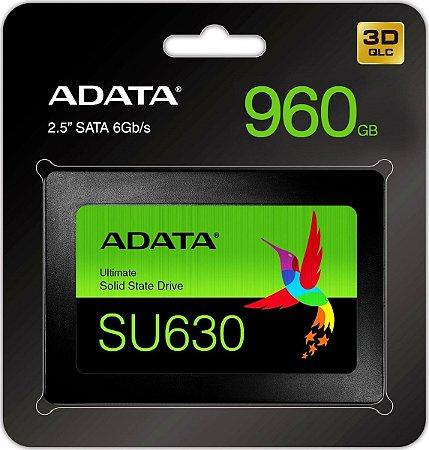 "SSD ADATA SU630 960GB, 25"" SATA 6Gb/S, LEITURA 520MB/s, GRAVAÇÃO 450MB/s - ASU630SS-960GQ-R"