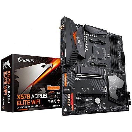 PLACA MÃE GIGABYTE X570 AORUS ELITE WIFI, AMD AM4, ATX DDR4