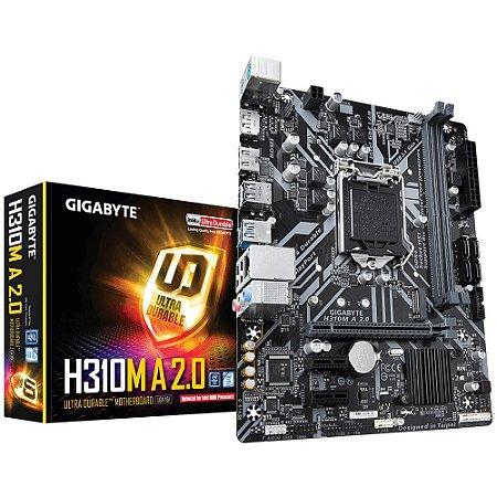PLACA MÃE GIGABYTE H310M A 2.0, INTEL LGA 1151, DDR4, MICRO ATX