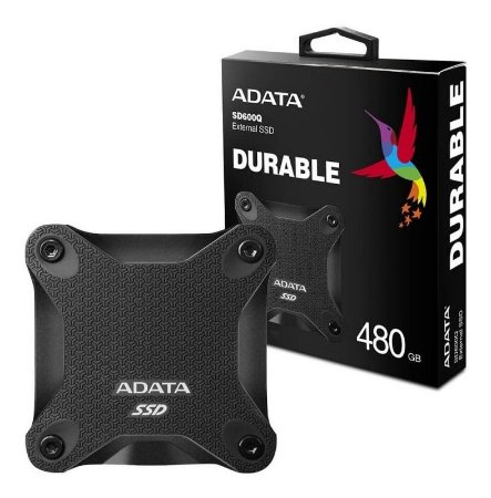 SSD EXTERNO ADATA SD600Q DURABLE 480GB, LEITURA 440MB/s, GRAVAÇÃO 440MB/s - ASD600Q-480GU31-CBK