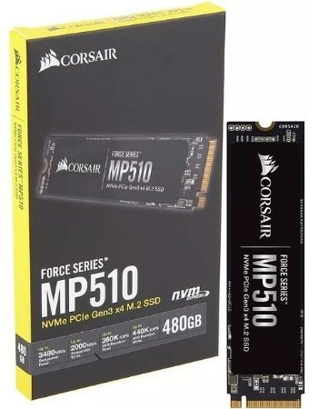 SSD CORSAIR FORCE SERIES MP510, 480GB, M.2 NVMe, Leitura 3480MB/s, Gravação 2000MB/s - CSSD-F480GBMP510