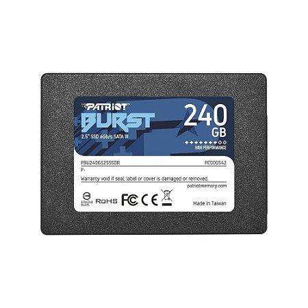 SSD PATRIOT BURST, 240GB, SATA III, LEITURA 555MBS E GRAVAÇÃO 500MBS - PE000542-PBU240GS25SSDR