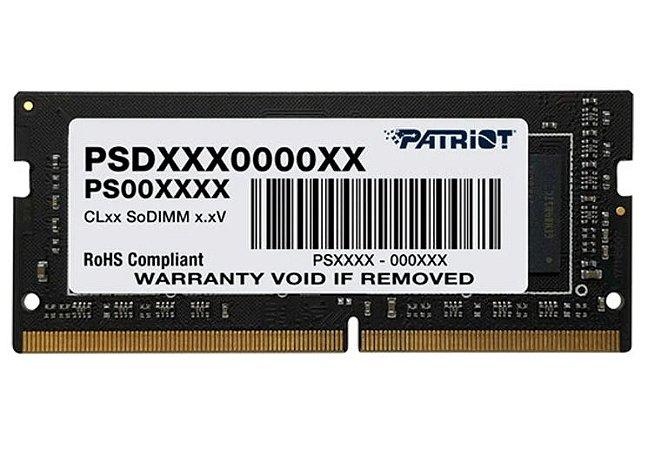 MEMÓRIA RAM PARA NOTEBOOK 8GB 2666MHZ DDR4  PATRIOT - PSD48G266681S