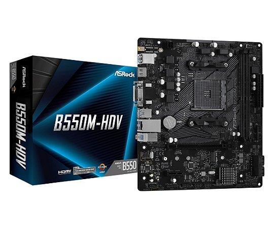 PLACA MÃE ASROCK B550M-HDV, CHIPSET B550, AMD AM4, MATX, DDR4