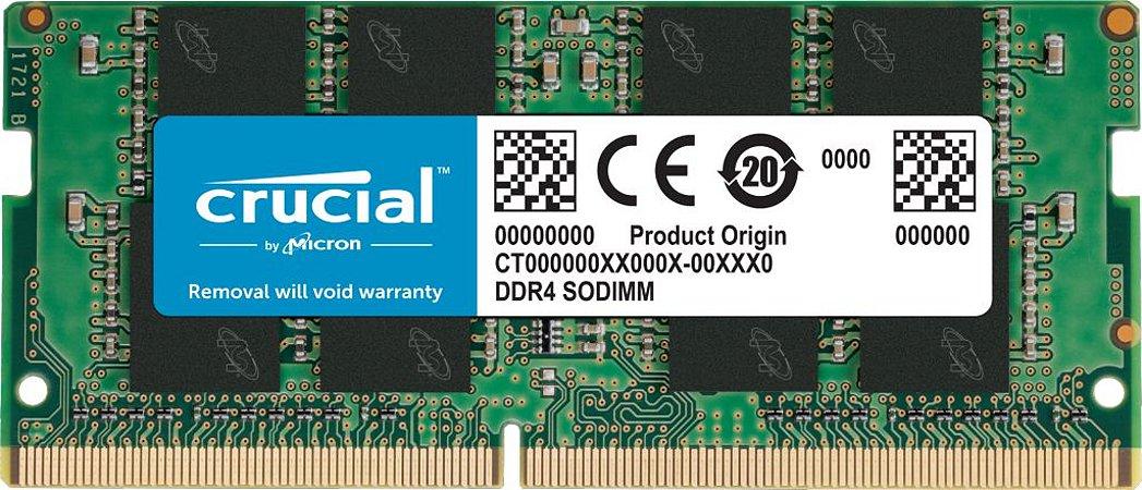MEMÓRIA CRUCIAL NOTEBOOK 16GB 2666MHz DDR4 SODIMM, CT16G4SFRA266