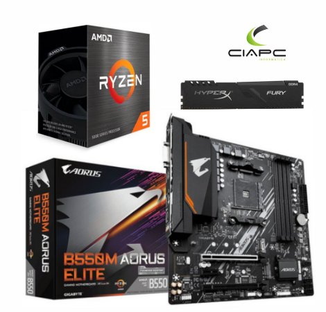 KIT UPGRADE B550M AORUS ELITE + PROCESSADOR RYZEN 5 5600X + 16GB DDR4 KINGSTON HYPERX