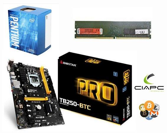 KIT MINERAÇÃO TB250-BTC + PROCESSADOR PENTIUM G4560 + 4GB DDR4