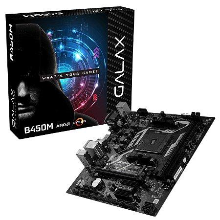 PLACA MÃE GALAX B450M, CHIPSET B450, AMD AM4, MATX, DDR4