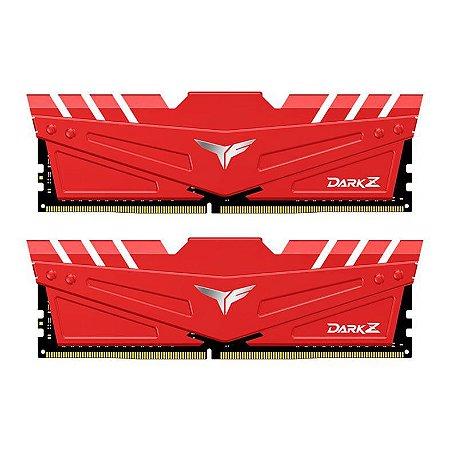 MEMORIA TEAM GROUP T-FORCE DARK Z 16GB (2X8) DDR4 3200MHZ VERMELHA - TDZRD416G3200HC16CDC01