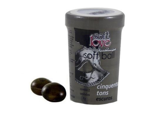 Soft Ball 50 Tons de Cinza Cápsula de Óleo Soft Love 2 Unid - Esquenta, Esfria e Vibra com Forte Intensidade
