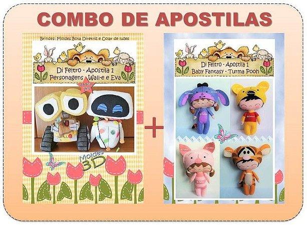 COMBO DE APOSTILAS DI FELTRO: WALLE e EVA + BABY FANTASY TURMA DO POOH
