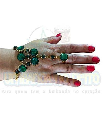 """Pulseira Dourada """"Esmeralda"""" (com anel)"""