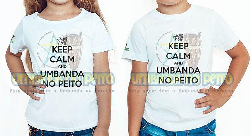 Camiseta Infantil Keep Calm and Umbanda No Peito