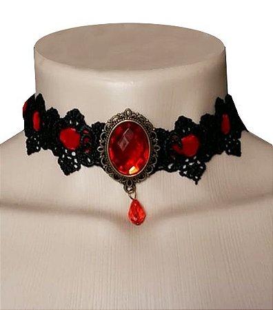 Gargantilha de Vermelho e Negro