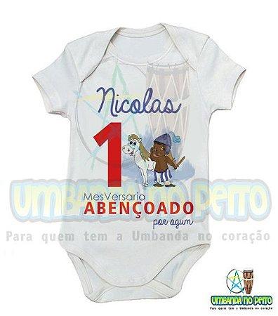 Body MesVersario Ogum Kids + Nome do Bebê