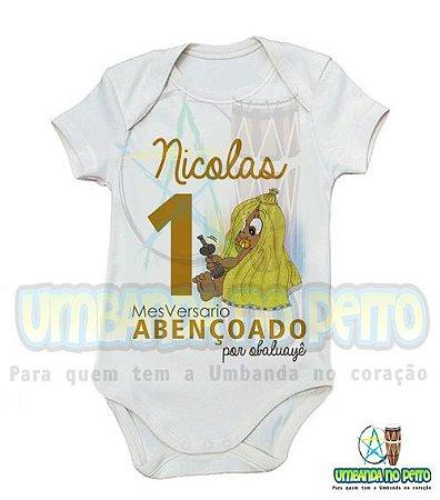Body MesVersario Obaluayê Kids + Nome do Bebê