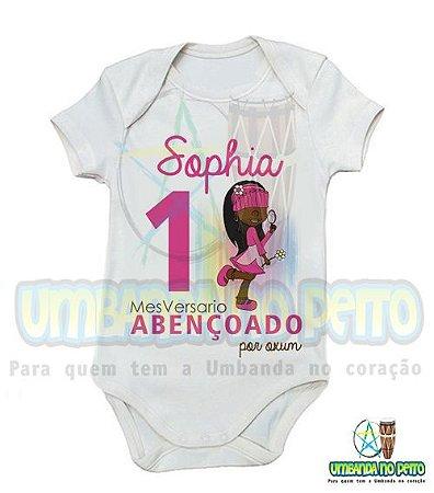 Body MesVersario Oxum (Rosa) Kids + Nome do Bebê