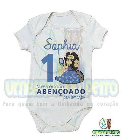 Body MesVersario Iemanjá Kids + Nome do Bebê