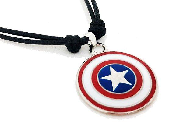 Colar Capitão América Escudo Vingadores Super Herói Estrela
