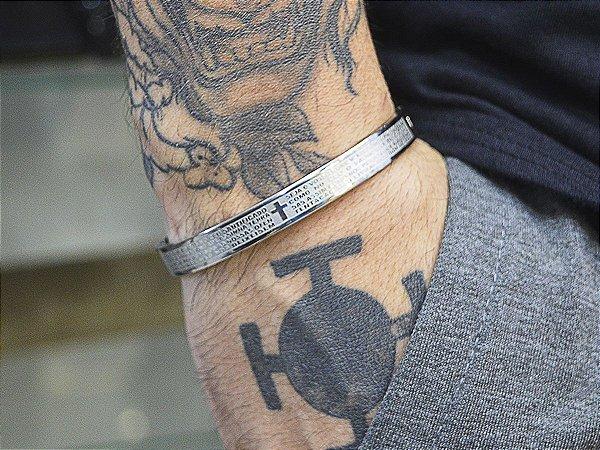 Bracelete Aço  316L Pai Nosso Prateado Banhado