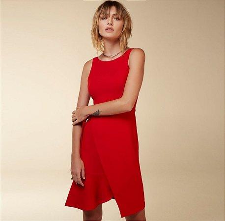 Vestido Crepe Vermelho Assimétrico