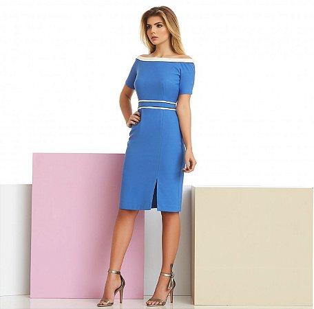 Vestido Crepe Azul Detalhes