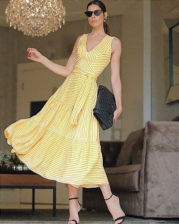 Vestido Crepe Listras Maria