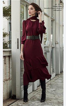 Vestido Crepe Vinho Midi
