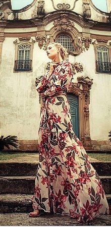 Vestido Chemise Seda Floral