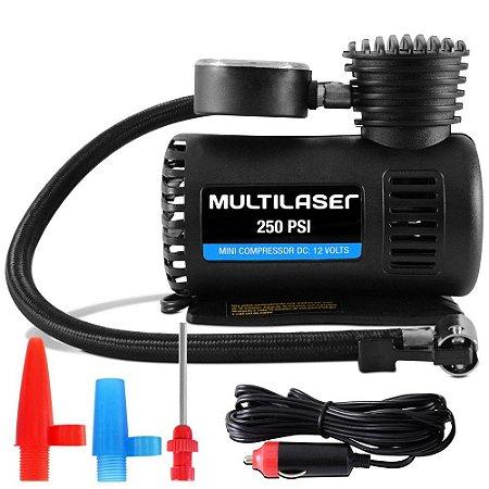 Compressor de ar automotivo 12v 60w com 3 adaptadores - Multilaser