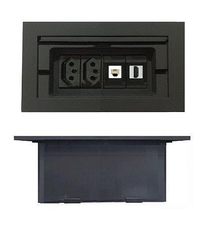 Caixa Tomada Para Mesas 4 Módulos Completa - DM4-M2