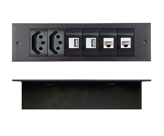 Régua De Tomada Para Embutir Em Moveis USB Charger, Rede cat5 - RDM06-M6