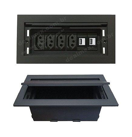 Caixa Tomada Para Instalar Em Mesas + Carregador USB 2.1A - QMF6-M16