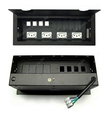 Caixa De Tomada Para Mesas Com 4 Tomadas + 4 Espaços DMEX12-M