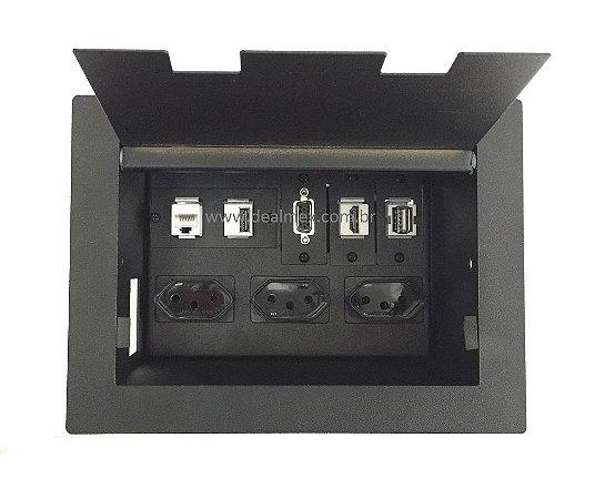 Caixa  De Conexões Multimídia e Tomadas Para Mesas - DMEX02-M1