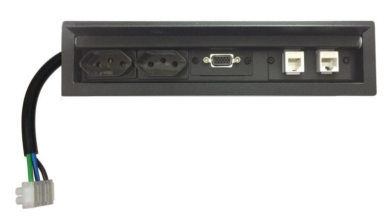 Tomada Para Mesas + Conexões VGA, Rede, Telefone - SLIM-200B