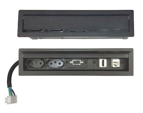 Régua Tomada Para Embutir Na Mesa HDMI, VGA, Rede - SLIM-200C
