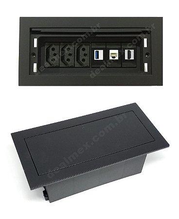 Tomada Para Mesa Com HDMI, USB, Rede Completa - QMF6-M8