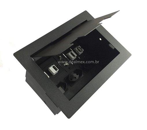 Caixa De Conexões e Tomadas Para Mesas - DMEX02-M4