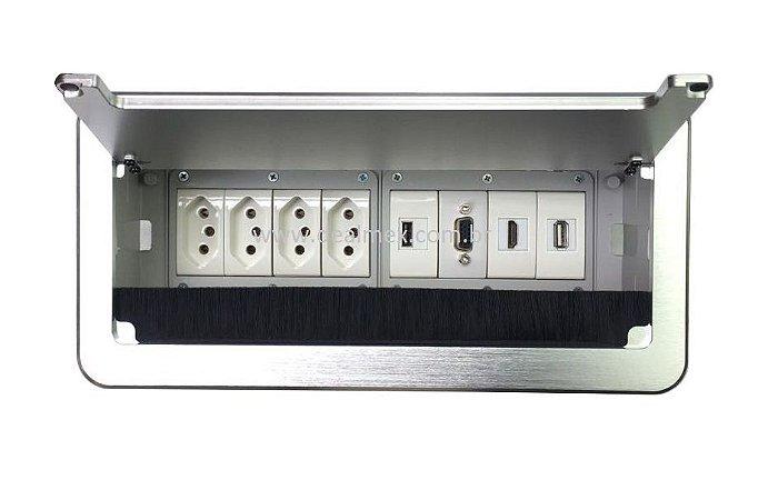 Caixa De Tomadas Para Mesas + Conexões Multimidia QM26-M13
