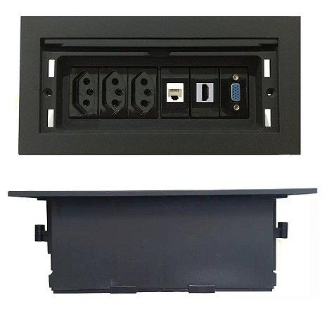 Tomada Para Mesa De Reunião, HDMI, Rede, VGA Completa - QMF6-M10