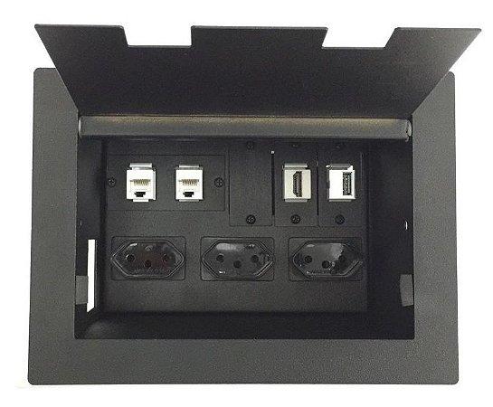 Caixa Multi Conexões Para Mesas De Reuniões Completa - DMEX02-M6