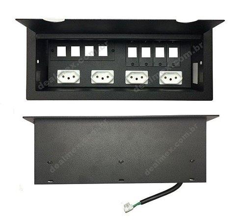 Caixa Tomada Com 4 Tomadas + Espaços Para Conexões DMEX12-M24