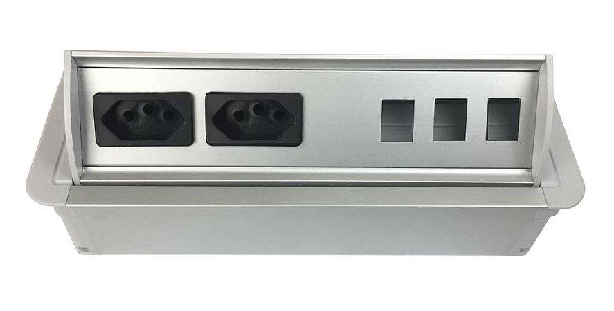 Caixa De Tomada SLIM-AW2T Com 2 Tomadas + Posições RJ45