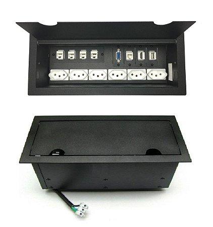 Caixa De Tomada e Conexões Multimídia Para Mesas - M5