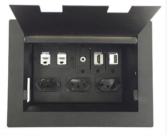 Caixa de Tomadas e Conexões Para Mesas DMEX02-M5