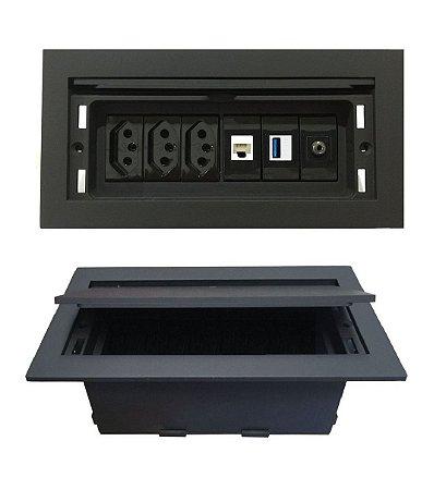 Caixa de Tomadas Com Multi Conexões Para Mesas - QMF6-M38